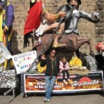 Chilling with Floats at the Parade in Cusco, Peru