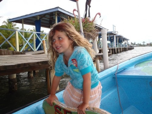 Hanalei on a water taxi in Bocas del Toro