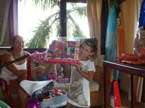 Hanalei's with her Christmas Presents from Santa