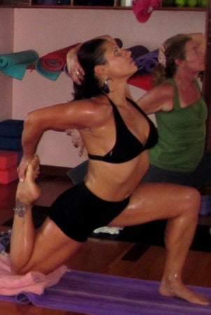 Rhonda Swan strikes a yoga pose in Bocas del Toro, Panama